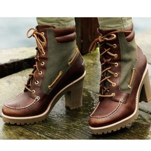 Sperry top sider trinity boots leather heeled shoe